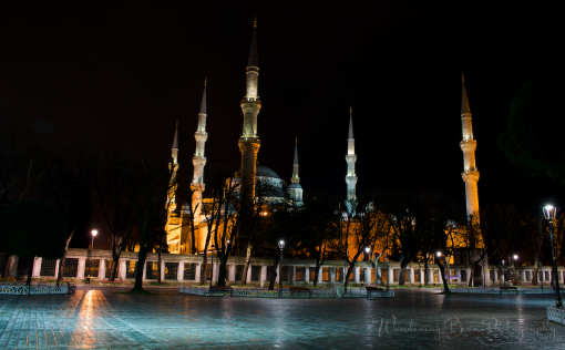 The Blue Mosque on a rainy night in Istanbul.