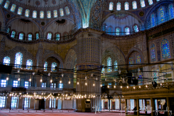 The Blue Mosque interior provides an eruption of color for the eyes.