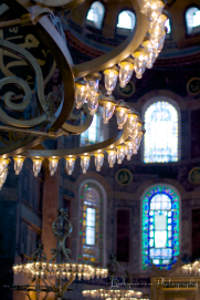 Lighting inside Hagia Sophia.