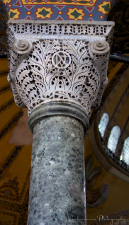 One of many ornate column capitals supporting the Hagia Sophia.