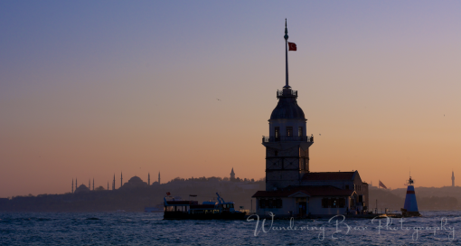 View of Sultanahmet and Maiden's Tower at sunset from the Asian side of Istanbul.