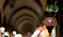 Glass lamps serve as a guide through the maze of the Grand Bazaar.