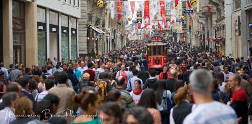 The bustling high street of İstiklal Avenue.