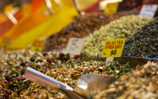 Spice, tea, and herbs are conspicuous throughout the Egyptian Bazaar.