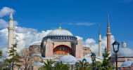 The clouds finally parted and proved an astonishing view of Hagia Sophia.