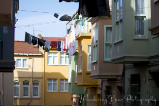 Typical homes with laundry drying in the open air.