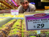 Trays of baklava tempted me from nearly every angle.