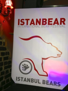 A banner hangs at the IstanBear Fest host bar.