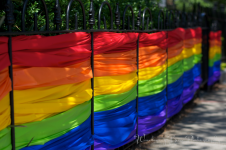 Rainbows decorate P Street along the parade route.
