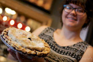 Stephanie graciously poses for me with a blueberry pie.