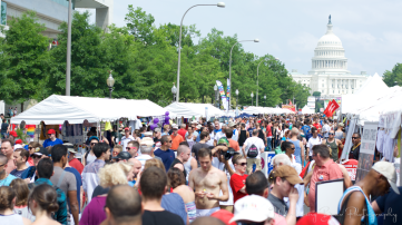 A swarming crowd descends on Pennsylvania Ave for Capital Pride.
